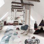 Playroom, Sloping Ceiling, Wooden Floor, Rug, Toys, Rocking Chair, Monkey Bars, Swing, Wooden Beams, Hammock, Tent, Shelves