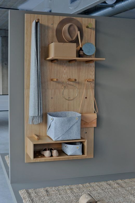 plywood boards for pegboard with hooks, shelves, boxes