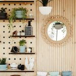 Plywood For Pegboards With Black Boards Shelves, Decorative Wall Cover