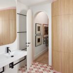 Pretty Pink Pattern Floor Tiles, Wooden Cupboard, White Wall With Black Lines, White Floating Vanity Sink, Large Mirror