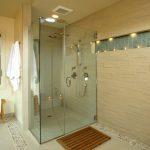 Shower Pan Tiles Glass Shower Door Mosaic Tiles Brown Subway Tiles Shower Fixtures Candles Towel Hook Wooden Bencg Window Shower Head