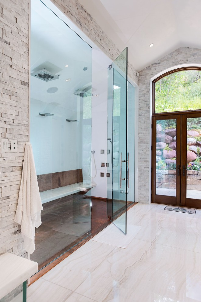 shower pan tiles glass shower doors built in bench copper shower tile rainfall shower towel hook glass door white walls shower fixture