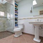 Shower Pan Tiles Mosaic Wall Tiles Built In Shelves Toilet Pedestal Sink Wall Mirror Wall Sconces Glass Shower Door Towel Holder Window
