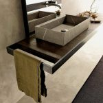 Simple Wooden Floating Vanity Table With Towel Holder And With Grey Retangle Sink, Silver Faucet From The Rectangle Mirror,