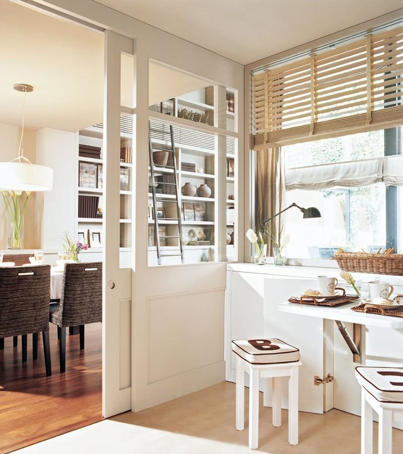 sliding door, glass partition, wooden floor, white floating dining table, white stool, dining table, rattan chairs, living room