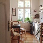 Small Long Kitchen, White Wall, White Cabinet, Dining Set On The Wall, Floating Shelves