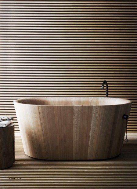 smooth wooden bath tub with sleek lines, wooden slabs floor and wall