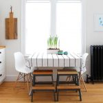 Square Table, Striped Clothe, White Modern Chair, Wooden Stool, Near The Window