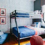 Superhero Room Wallpaper Bunkbed Blue Bedding Blue Eban Bag Super Hero Prints White Window Shade Table Lamp Red Table Pillows