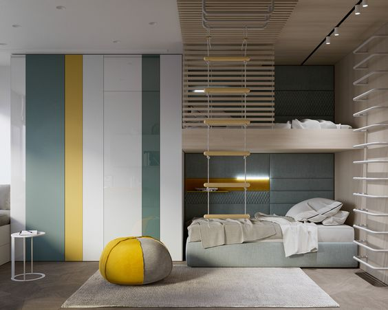 tall cupboard with white, yellows, green colors, brown flooring, grey rug, beds, rope stairs, ottoman