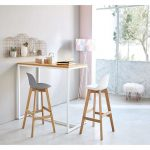 Tall Wooden Table, Wooden Stool With White And Gey Seating With Back, Wall Decoration, Floor Lamp, Low White Stool