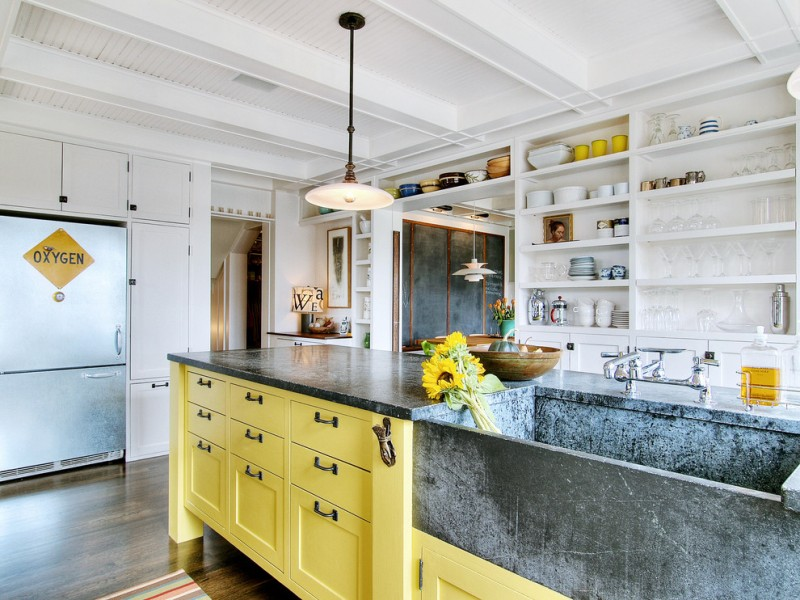 the sink yellow island refrigerator kitchen rug pendant lamp white shelves faucet white cabinets table lamps glassware