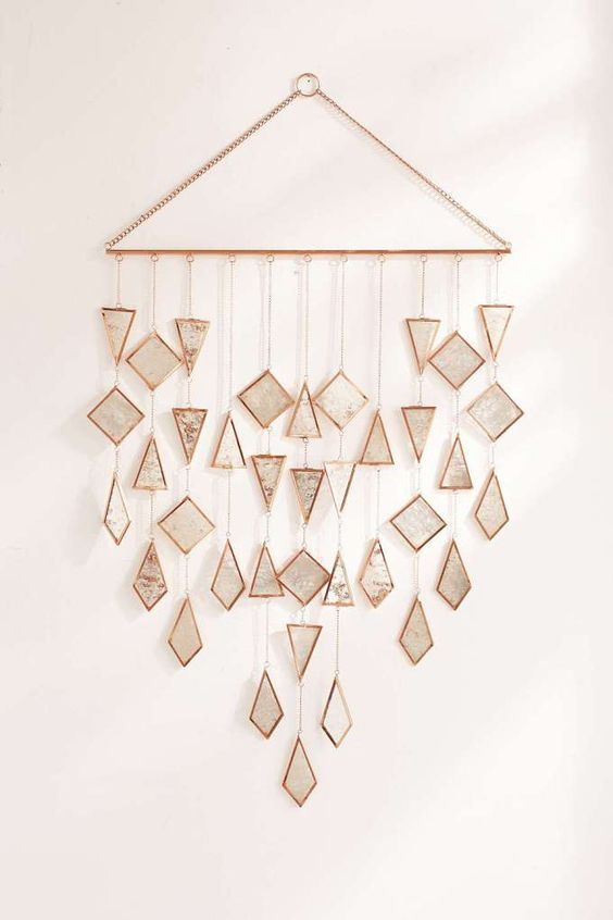 triangle metal with small triangle and diamond shaped small mirrors