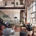 Two Levels Apartment, Wooden Floor, White Wall, Large Windows, Living Room At The Botttom, Bedroom In The Upper Level, Ceiling Fan, Rail And Glass Partiion In The Upper,