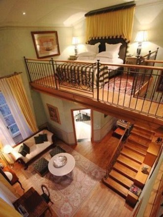 two levels house, wooden floor, living room and kitchen on the ground level, bedroom on the upper level, yellow curtain