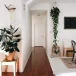 Vines Hung On The Pot From The Ceiling, Stool, Living Room, Wooden Floor, White Wall, White Floor