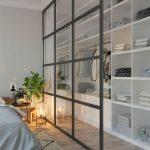 Walking Closet In The Bedroom, Wooden Flor, White Shelves, Glass Partition With Curtain