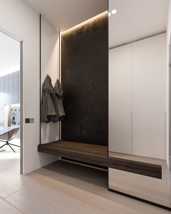 white cupboard, floating wooden bench supported by wire, nook on the wall, black backwall
