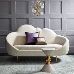 White Curvy Sofa With Golden Legs, White Hourglass Shape Comme Table, Pendant, Rug