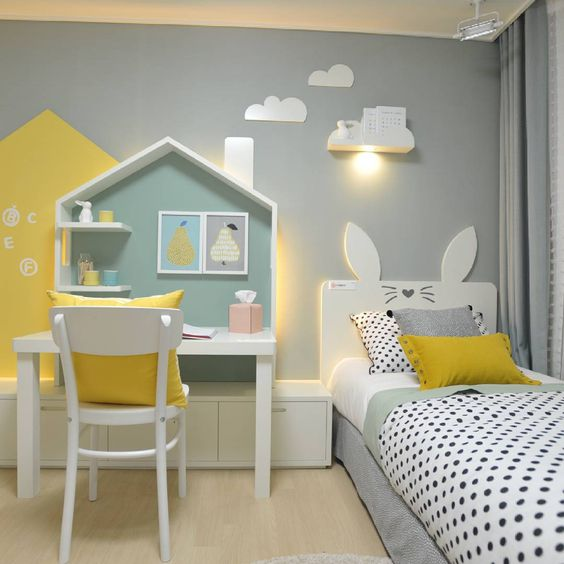 white house box on white study table with small shelves, white wooden storage box, white wooden bed platform with rabbit ear