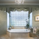 Window Swag Valances Frosted Glass Wall Green Wallpaper Crystal Chandelier Beige Floor Tile Built In Bathtub Classic Towel Holder Tub Filler Candles