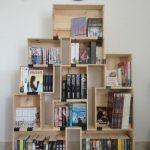 Wooden Crates Arranged As Bookcase Geometrically And Simply