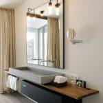 Wooden Floating Board Vanity With Grey Square Sink, Black Floating Cabinet Under, Large Square Mirror, Pendants, Round Mirror