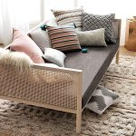 Wooden Rattan Daybed Platform, Grey Cushion, Pillows, Brown Rug