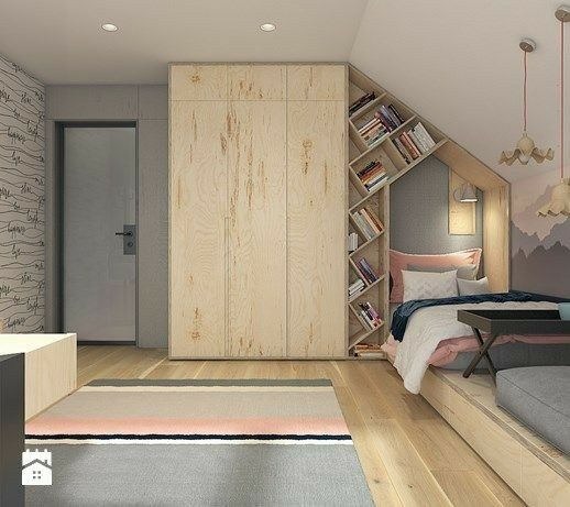 wooden sleek tall cupboard with zigzag shelves on the side, bedroom with wooden floor, rug, wooden panel for bed, sloping ceiling, grey wall