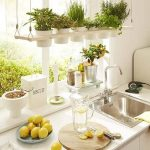 Wooden Window Floating Shelves Supported By Wire With White Pots For Plants
