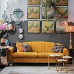 Yellow Velvet Sofa, Ru, Grey Wall, Wall Paintings, Round Side Table, Round Nesting Tables