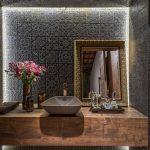 Black Embossed Patterned Tiles, White LED Lights, Mirror, Wooden Floating Vanity, Grey Sink