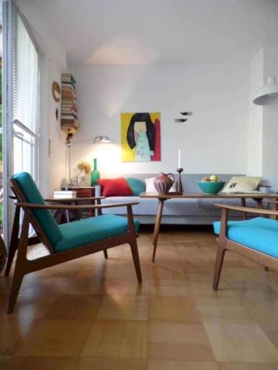 03 living room, wooden floor, white wall, white ceiling, grey sofa, blue chairs, wooden coffee table, large glass window