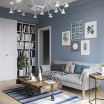 Living Room, Wooden Floor, Blue Rug, Grey Sofa, Reclaimed Wood Coffee Table, Wooden Side Table, White Moern Chandelier, Built In Shelves, White Cupboard