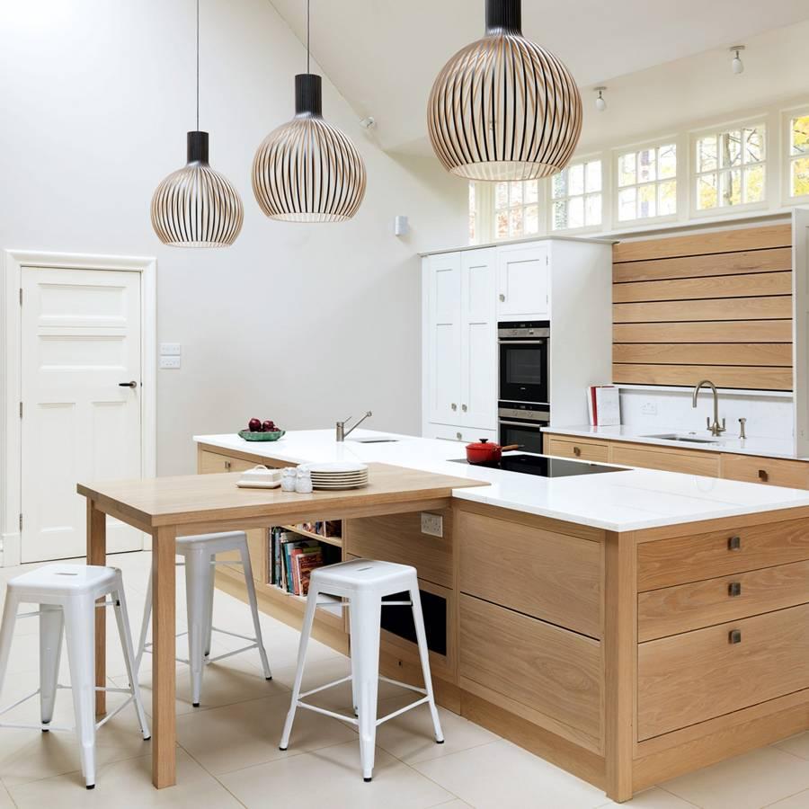1 compressed quartz kitchen worktop combined with wooden kitchen furnitures in Tshaped island