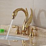 1 Waterfall Bathroom Faucet Golden Brass Material In Swan Shaped With Dual Handle Tap