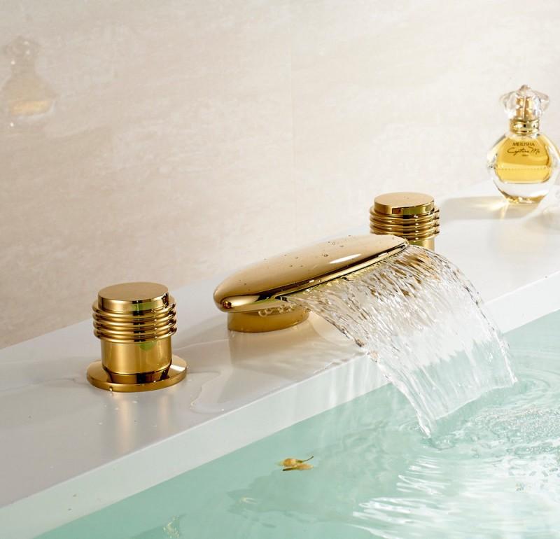 2 deck mounted golden brass waterfall bathroom faucet