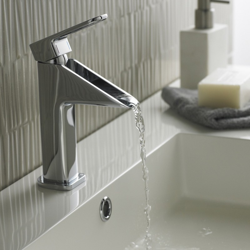3 deck mounted chrome finish waterfall bathroom faucet in modern style