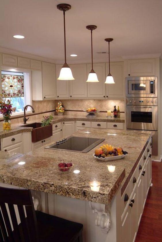 6 glossy beige kitchen worktop for warmth nuance