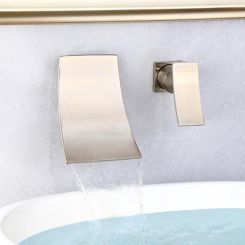 7 brushed nickel wall mounted waterfall bathroom faucet widespread