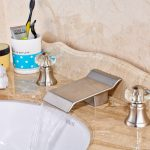 8 Deck Mounted Waterfall Bathroom Sink Faucet Made Of Brushed Nickel