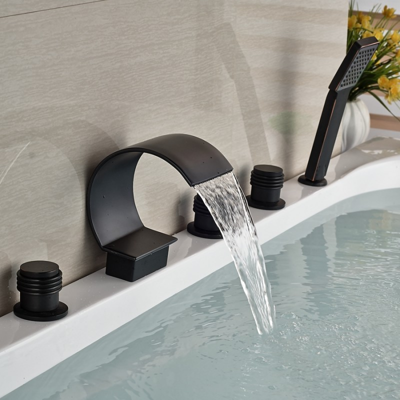 9 oil rubbed bronze bathroom curved waterfall faucet