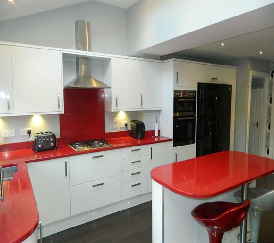 9 red laminated kitchen worktop in L shaped small kitchen