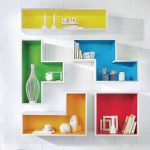 Colorful Floating Tetris Shelves On White Brick Wall