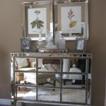 Bar Server Furniture Mirrored Cabinet Glass Bottles Frame Chrome Wall Decor Tan Wall Mediterranean Area Rug Crystal Drawers Knobs