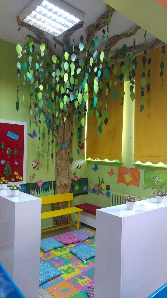 basement, colorful mats, white wooden bookshelves, green wall, yellow bench, trees