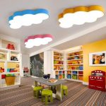 Basement, Striped Mat, Low Black Table With Green Stools, White Ceiling, LED Cloud Lamp, Yellow Wall, Bookshelves, White Shelves