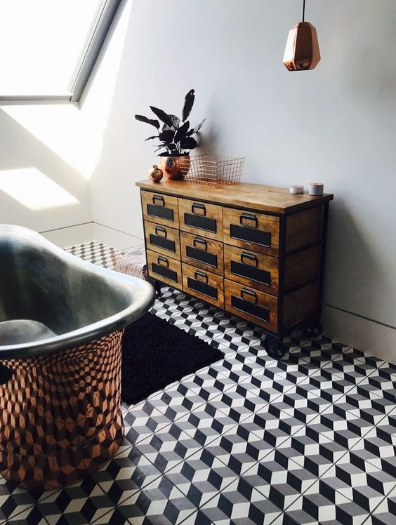 bathroom, 3D hexagonal floor tiles, copper tub, wooden cabinet with drawers, white wall, copper pendant, glass window