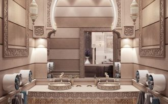 bathroom, beige floor, floating vanity, round sinks, arch wall, striped wall, carvings details, LED light