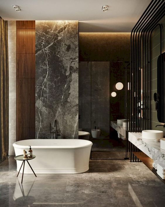 bathroom, brown floor tiles, white tub, grey marble partition, brown marble wall, white marble floating